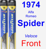 Front Wiper Blade Pack for 1974 Alfa Romeo Spider - Hybrid