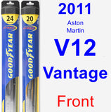 Front Wiper Blade Pack for 2011 Aston Martin V12 Vantage - Hybrid