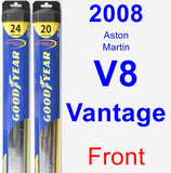 Front Wiper Blade Pack for 2008 Aston Martin V8 Vantage - Hybrid
