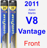 Front Wiper Blade Pack for 2011 Aston Martin V8 Vantage - Hybrid