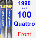 Front Wiper Blade Pack for 1990 Audi 100 Quattro - Hybrid