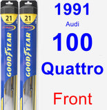 Front Wiper Blade Pack for 1991 Audi 100 Quattro - Hybrid