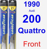 Front Wiper Blade Pack for 1990 Audi 200 Quattro - Hybrid