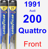 Front Wiper Blade Pack for 1991 Audi 200 Quattro - Hybrid