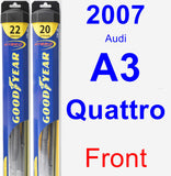 Front Wiper Blade Pack for 2007 Audi A3 Quattro - Hybrid
