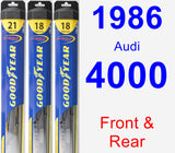Front & Rear Wiper Blade Pack for 1986 Audi 4000 - Hybrid