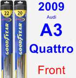 Front Wiper Blade Pack for 2009 Audi A3 Quattro - Hybrid