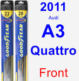 Front Wiper Blade Pack for 2011 Audi A3 Quattro - Hybrid