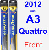 Front Wiper Blade Pack for 2012 Audi A3 Quattro - Hybrid