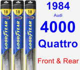 Front & Rear Wiper Blade Pack for 1984 Audi 4000 Quattro - Hybrid
