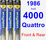 Front & Rear Wiper Blade Pack for 1986 Audi 4000 Quattro - Hybrid
