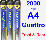 Front & Rear Wiper Blade Pack for 2000 Audi A4 Quattro - Hybrid