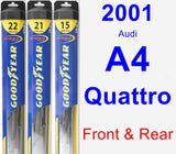 Front & Rear Wiper Blade Pack for 2001 Audi A4 Quattro - Hybrid