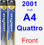 Front Wiper Blade Pack for 2001 Audi A4 Quattro - Hybrid