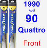Front Wiper Blade Pack for 1990 Audi 90 Quattro - Hybrid