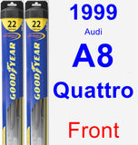 Front Wiper Blade Pack for 1999 Audi A8 Quattro - Hybrid