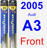 Front Wiper Blade Pack for 2005 Audi A3 - Hybrid
