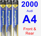 Front & Rear Wiper Blade Pack for 2000 Audi A4 - Hybrid