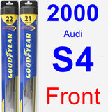 Front Wiper Blade Pack for 2000 Audi S4 - Hybrid