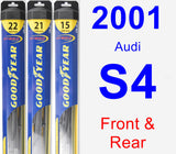 Front & Rear Wiper Blade Pack for 2001 Audi S4 - Hybrid