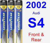 Front & Rear Wiper Blade Pack for 2002 Audi S4 - Hybrid