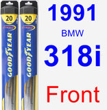 Front Wiper Blade Pack for 1991 BMW 318i - Hybrid
