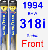Front Wiper Blade Pack for 1994 BMW 318i - Hybrid