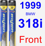 Front Wiper Blade Pack for 1999 BMW 318i - Hybrid