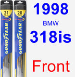 Front Wiper Blade Pack for 1998 BMW 318is - Hybrid