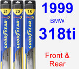 Front & Rear Wiper Blade Pack for 1999 BMW 318ti - Hybrid
