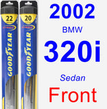 Front Wiper Blade Pack for 2002 BMW 320i - Hybrid