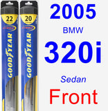 Front Wiper Blade Pack for 2005 BMW 320i - Hybrid