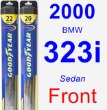 Front Wiper Blade Pack for 2000 BMW 323i - Hybrid