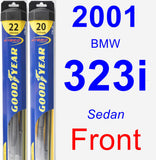 Front Wiper Blade Pack for 2001 BMW 323i - Hybrid