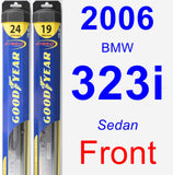 Front Wiper Blade Pack for 2006 BMW 323i - Hybrid