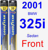 Front Wiper Blade Pack for 2001 BMW 325i - Hybrid