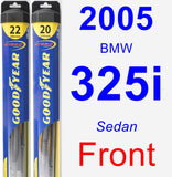 Front Wiper Blade Pack for 2005 BMW 325i - Hybrid