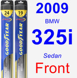 Front Wiper Blade Pack for 2009 BMW 325i - Hybrid