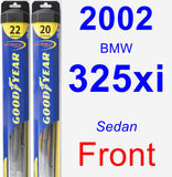 Front Wiper Blade Pack for 2002 BMW 325xi - Hybrid