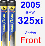 Front Wiper Blade Pack for 2005 BMW 325xi - Hybrid