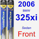 Front Wiper Blade Pack for 2006 BMW 325xi - Hybrid