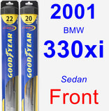 Front Wiper Blade Pack for 2001 BMW 330xi - Hybrid
