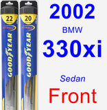 Front Wiper Blade Pack for 2002 BMW 330xi - Hybrid