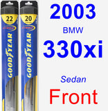 Front Wiper Blade Pack for 2003 BMW 330xi - Hybrid