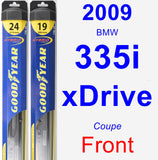 Front Wiper Blade Pack for 2009 BMW 335i xDrive - Hybrid