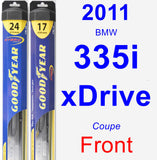 Front Wiper Blade Pack for 2011 BMW 335i xDrive - Hybrid