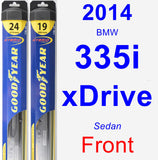 Front Wiper Blade Pack for 2014 BMW 335i xDrive - Hybrid