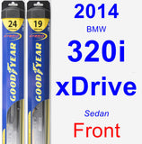 Front Wiper Blade Pack for 2014 BMW 320i xDrive - Hybrid
