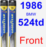 Front Wiper Blade Pack for 1986 BMW 524td - Hybrid