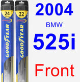 Front Wiper Blade Pack for 2004 BMW 525i - Hybrid